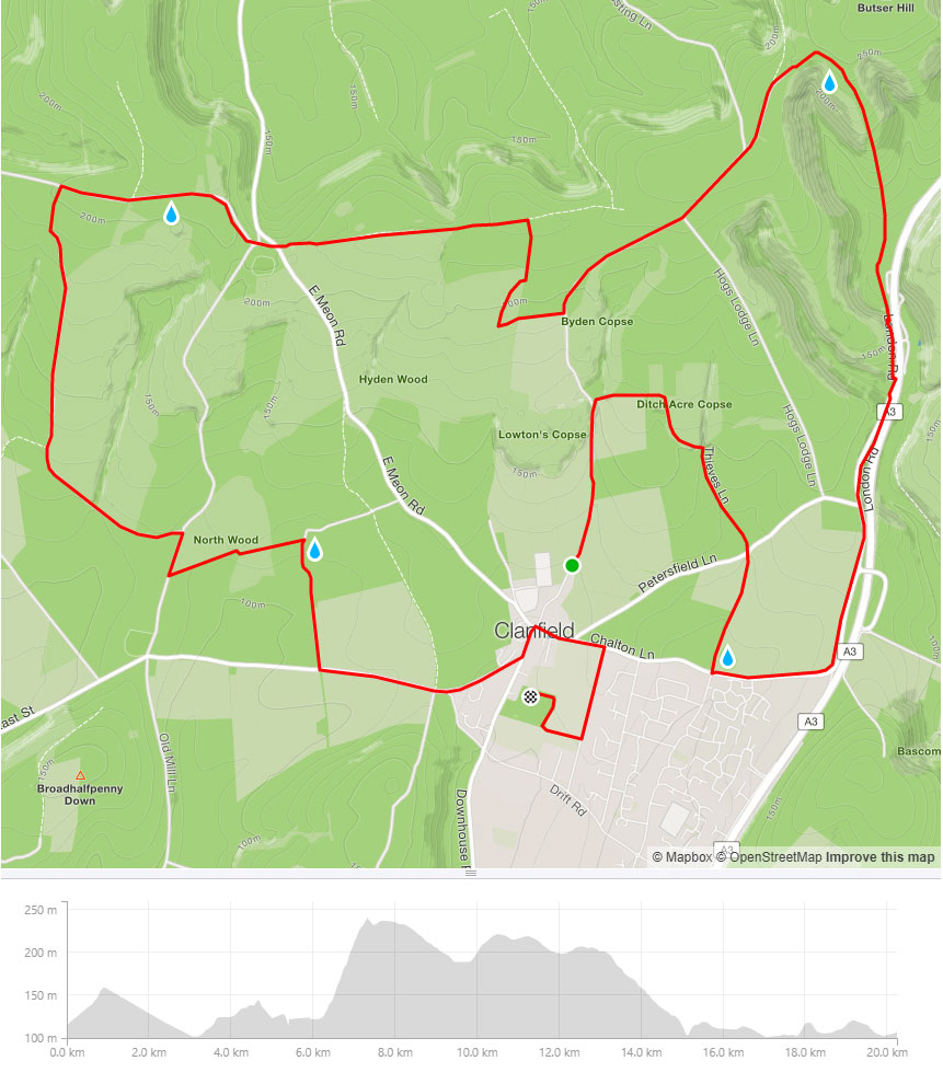 Clanfield Challenge 20k route