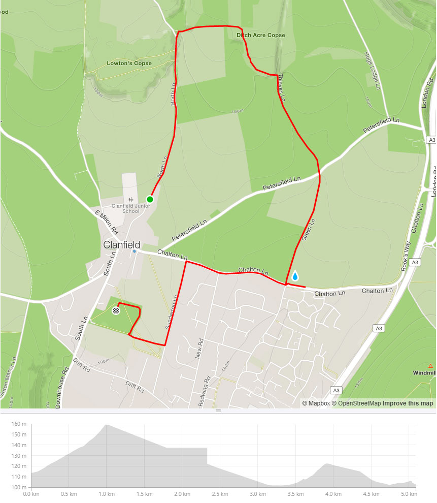 Clanfield Challenge 5k route
