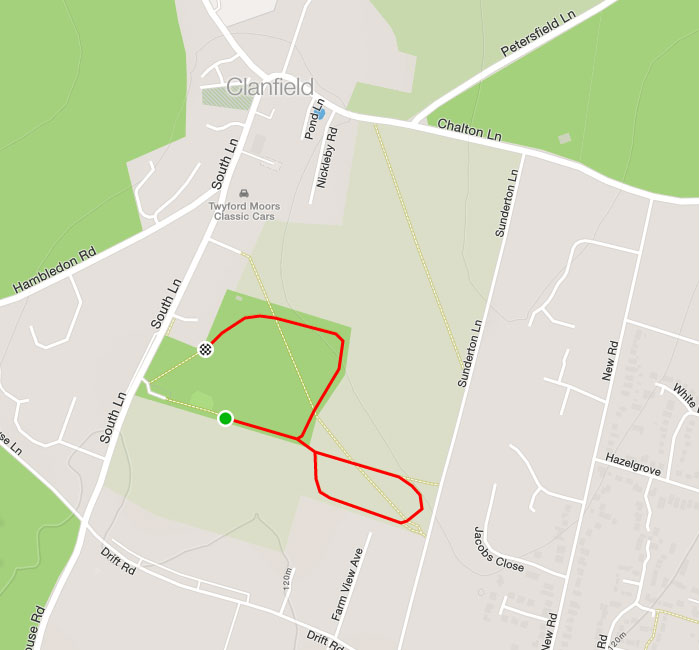 Clanfield Challenge 1k route