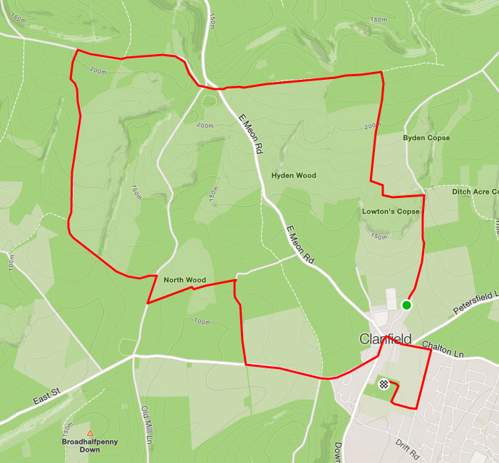 Clanfield Challenge 12k route