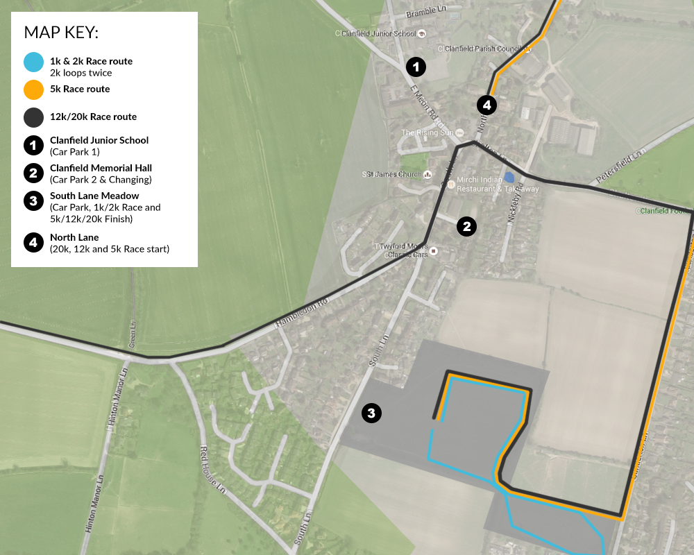 Clanfield Challenge Race Map